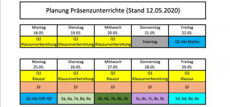 Planungsstand vom 12. Mai : Präsenzunterrichte ab dem 18. Mai  bis zu den Sommerferien